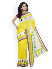Unnati Silks Yellow Hand-Painted Pure Kerala Cotton Traditional Saree