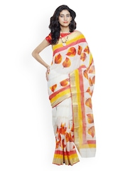 Unnati Silks Cream-Coloured Hand Painted Pure Kerala Cotton Traditional Saree
