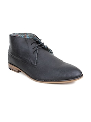 Red Tape Men Black Leather Chukka Boots