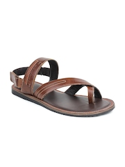 Red Tape Men Brown Leather Sandals