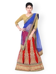 Nanda Silk Mills Beige & Red Embroidered Net Unstitched Lehenga Choli with Dupatta