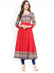 AKS Red Printed Anarkali Kurta
