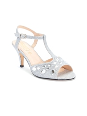Truffle Collection Women Silver-Toned Embellished Heels