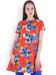 Ruhaans Red Floral Print Tunic