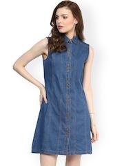 StyleStone Blue Denim Shirt Dress