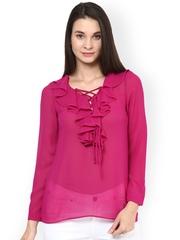 StyleStone Pink Ruffled Sheer Georgette Top