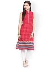 Jaipur Kurti Red Printed Kurta