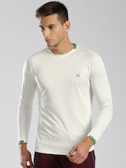 HRX by Hrithik Roshan Men Cream-Coloured Solid Active T-shirt
