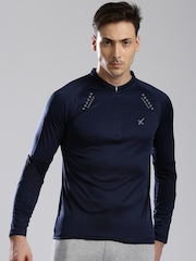 HRX by Hrithik Roshan Men Navy Mandarin Active T-Shirt