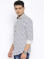 WITH Off-White & Navy Printed Slim Fit Casual Shirt