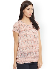 The Vanca Peach-Coloured Printed Blouson Top