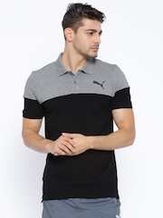 PUMA Black & Grey Colourblocked DryCELL Polo T-shirt