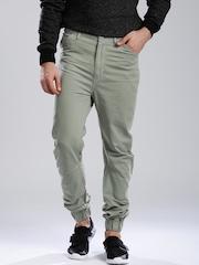 HRX by Hrithik Roshan Men Green Regular Fit Jogger Trousers