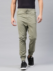 HRX by Hrithik Roshan Men Olive Green Solid Cuffed Trousers