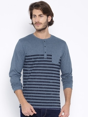 Highlander Blue Striped Henley T-shirt