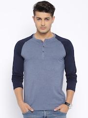 Highlander Blue Melange Henley T-shirt