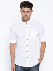 Locomotive White Linen Slim Fit Casual Shirt