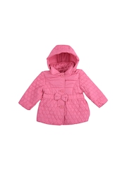 mothercare Girls Pink Hooded Quilted Jacket