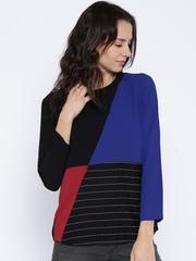 Tokyo Talkies Black & Blue Colourblock Polyester Top
