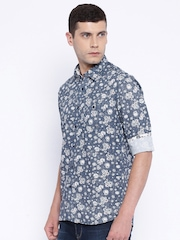 Killer Navy & White Floral Print Lean Fit Casual Shirt