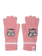 PUMA Girls Pink Active Tom & Jerry Print Knitted Gloves