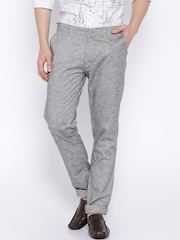 Le Bison Grey Melange Casual Trousers