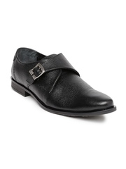 Red Chief Men Black Leather Monk Shoes