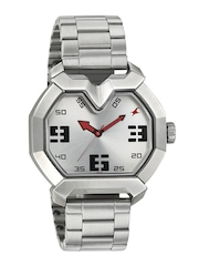 Fastrack Men Silver-Toned Dial Watch 3129SM01