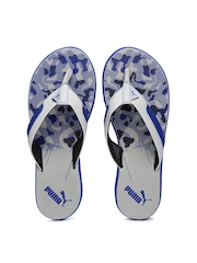 PUMA Men Grey & Blue Wrens DP Printed Flip-Flops