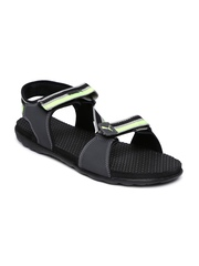 PUMA Men Charcoal Grey & Neon Green Striped Silicis IDP Sports Sandals