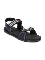 PUMA Men Navy & Grey Striped Silicis IDP Sports Sandals