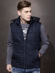 Roadster Navy Sleeveless Quilted Jacket with Detachable Hood