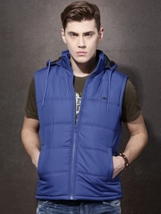 Roadster Blue Sleeveless Quilted Jacket with Detachable Hood