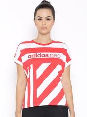 Adidas NEO Red & White CS Striped T-shirt