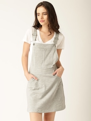 DressBerry Women Grey Solid Dungaree Dress