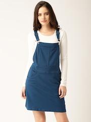 DressBerry Women Blue Solid Dungaree Dress