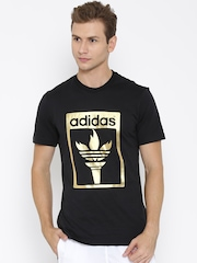 Adidas Orginals Black TREFOIL Printed T-shirt