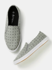 Mast & Harbour Men Grey Printed Slip-Ons