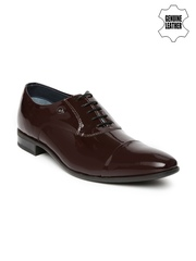 Louis Philippe Men Brown Patent Leather Oxford Shoes