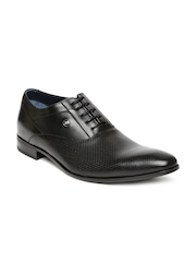 Louis Philippe Men Black Leather Oxford Shoes