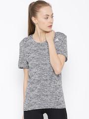 Adidas Grey SN Polyester Patterned Running T-shirt