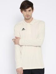 Adidas Cream-Coloured B Polyester Cricket Polo T-shirt
