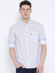 U.S. Polo Assn. White Printed Tailored Fit Casual Shirt