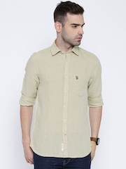 U.S. Polo Assn. Taupe Linen Tailored Fit Casual Shirt