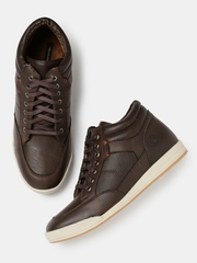 Moda Rapido Men Coffee Brown Mid-Top Sneakers