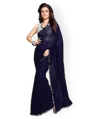 Mirchi Fashion Navy Faux Georgette Embellished Saree