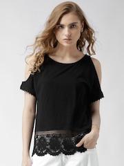 New Look Black Crochet Hem Cold Shoulder Top
