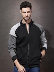 Roadster Black & Grey Colourblock Sweatshirt