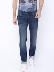 Wrangler Blue Washed Skanders Slim Fit Jeans
