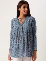 All About You from Deepika Padukone Blue Foral Print Pleated Polyester Top